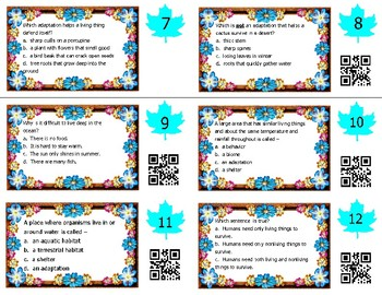 Adaptations Task Cards -- Science