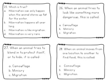 Adaptations Task Cards for Mimicry, Hibernation, Camouflage & Migration (GSE)