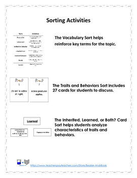 Adaptations, Traits, and Behaviors Activity Pack