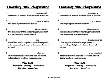 Adaptations Vocab Pack