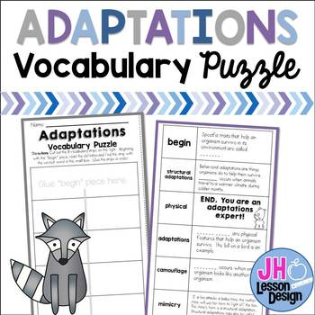 Adaptations Vocabulary Puzzle