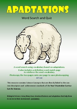 Adaptations: Word Search and Quiz