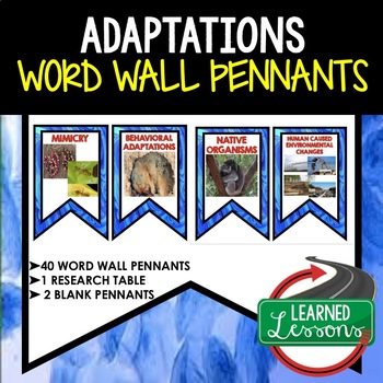 Adaptations Word Wall 40 Pennants (Life Science Word Wall)