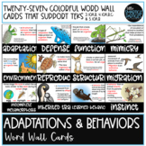 Adaptations and Behavior Word Wall - TEKS 3.10A,B, & 4.10A
