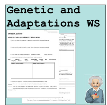 Adaptations and Genetics WS