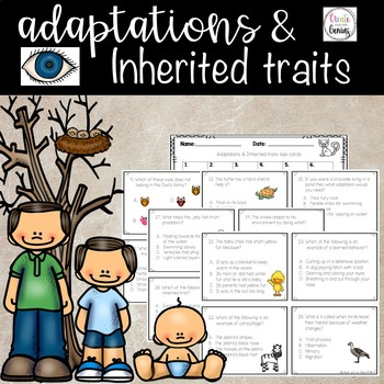Adaptations and Inherited traits task cards and activity