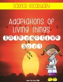 Adaptations of Living Things {Interactive Science Vocabulary Sort}