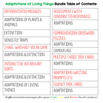 Adaptations Unit for Plant & Animal Adaptations & Extinction Activities