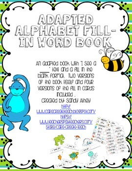 Adapted Alphabet Fill In Word and Picture Book