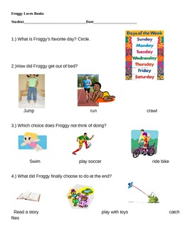 Adapted Assessment for book, Froggy Loves Books