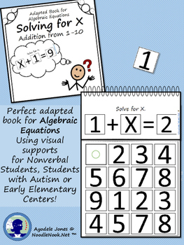 Adapted Book: Algebra and Solving for X for LIFE Skills and Autism Units!