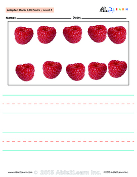 Adapted Book : Counting 1-10 & Printing:  Fruits Theme