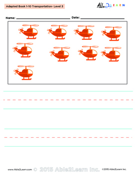 Adapted Book : Counting 1-10 & Printing: Transportation Theme