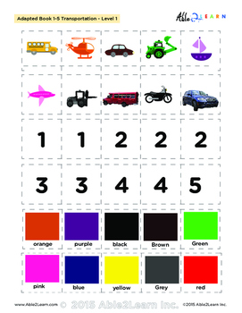 Adapted Book: Counting 1-5 & Speech Development: Transportation Theme