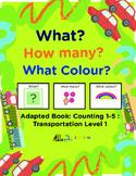 Adapted Book: Counting 1-5 & Speech Development: Transportation Theme