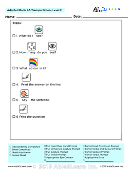Adapted Book : Counting 1-5  & Guided Writing: Transportation Theme