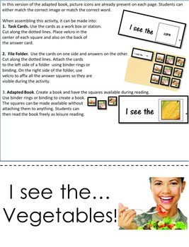 Adapted Book Functional Vocabulary- VEGETABLES!