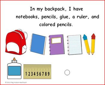 Interactive Book: I am Packing my Backpack
