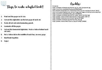 Adapted Book - Spelling of Body Parts (LEVEL3)