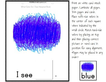 Adapted Book: WHAT COLOR  DO I SEE – Special Education Resource for Reading
