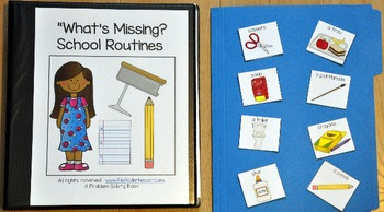 """Adapted Book--""""What's Missing? School  Routines Edition"""""""