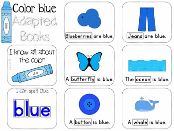 Adapted Book for the Color Blue (3 Differentiated Levels)