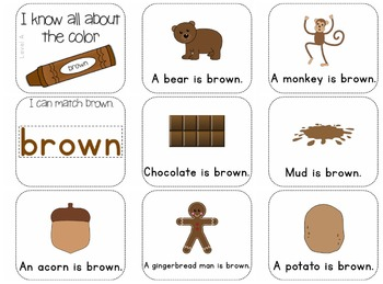 Adapted Book for the Color Brown (3 Differentiated Levels)