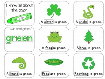 Adapted Book for the Color Green (3 Differentiated Levels)
