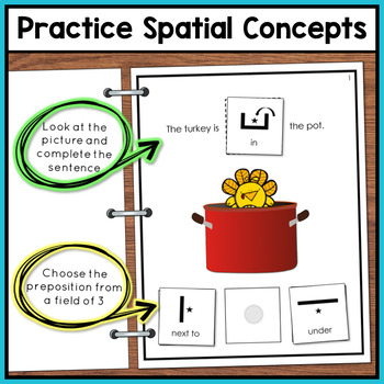 Thanksgiving Adapted Book of Prepositions for Special Education and Autism