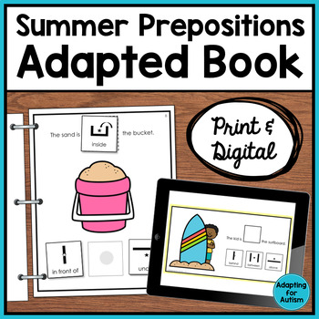 Summer Adapted Book for Special Education and Autism - Prepositions