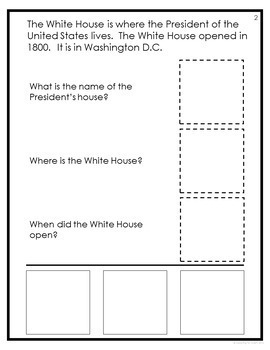 Famous US Landmarks Adapted Book with Comprehension Check (Special Education)