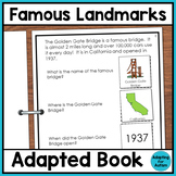 Famous US Landmarks Adapted Book for Special Education and Autism