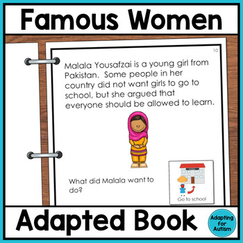 Women's History Month Adapted Book with Comprehension Questions for Special Ed