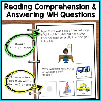 Black History Month Adapted Book with Comprehension Questions