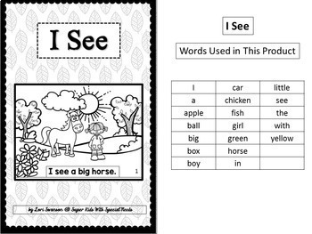 Adapted Sight Word Book: I See (b & w)