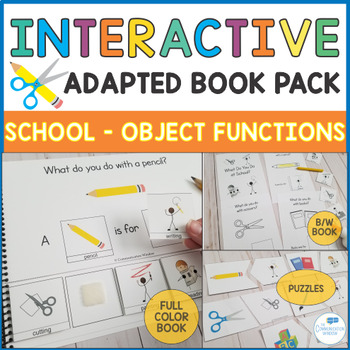 School Theme Interactive Book - Object Functions and Actions