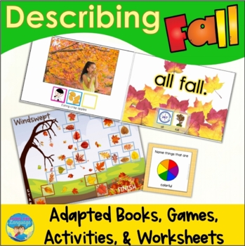 Adapted Books and Fall Picture Describing Activities for Special Education
