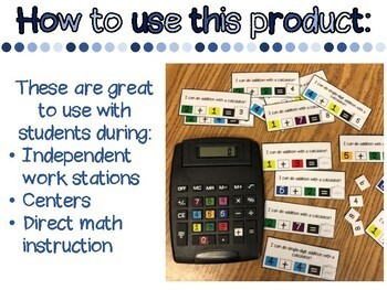 Adapted/ Color-Coded Calculator and Addition Task Cards (Sample)