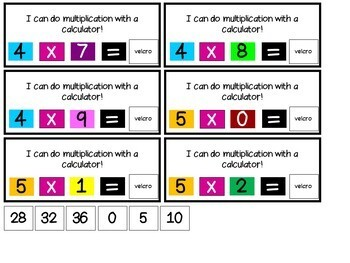 Adapted/ Color-Coded Calculator with Basic Math Functions Task Cards
