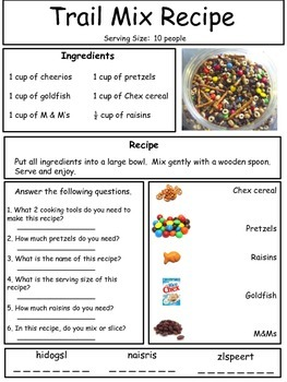 Adapted Cooking Recipe - Trail mix