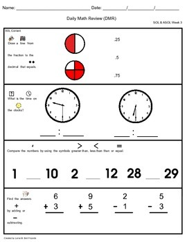 Adapted Daily Math Review