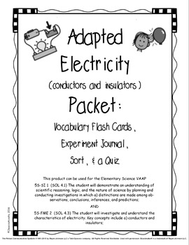 Adapted Electricity (conductors & insulators) Packet  (VAA