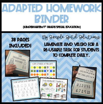 Adapted Homework Binder for Pre-K/K or Special Education- Level 1