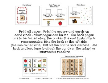 Adapted Interactive Beginning Reader for the letter B - 31 Picture Words