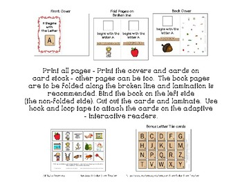 Adapted Interactive Beginning Reader for the letter C - 33 Picture Words