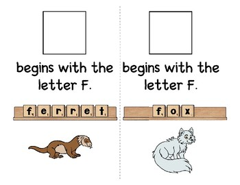 Adapted Interactive Beginning Reader for the letter F - 35 Picture Words