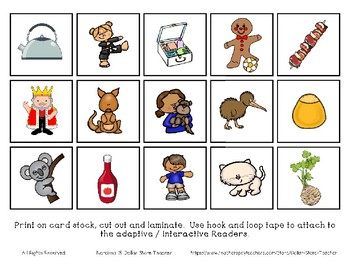 Adapted Interactive Beginning Reader for the letter K - 21 Picture Words