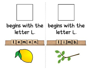 Adapted Interactive Beginning Reader for the letter L - 33 Picture Words