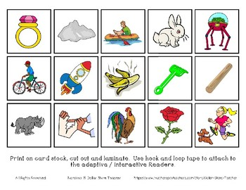 Adapted Interactive Beginning Reader for the letter R - 29 Picture Words