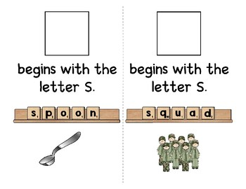Adapted Interactive Beginning Reader for the letter S - 41 Picture Words